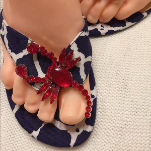 Kate Spade Sz 7.5 Red Lobster Blue & White Sandals